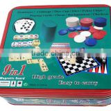 9 in 1Dominoes/Cribbage/Dice cup/Dice/Poker Chips/Playing cards/Chess/Backgammon/Checkers Magnetic board game