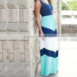 hot sale vest maxi long dress blue and light blue dress beach summer causual dress women
