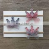 Korean style baby girls glitter crown headband newborn tulle flower lace headband