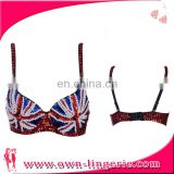 hot sale flag style pearl beading belly dance bra