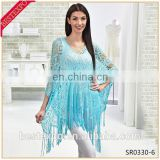 wholesale latest fancy girls swim bikini cover up party wear crochet fringe blue blouses plain crop tops
