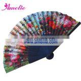 AF1416 Colored bamboo handle fabric hand fan