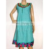 Neck Embroidery Summer Kurta Kurti Printed Indian Tunic Top