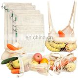 Natural Organic Cotton Washable Eco Friendly Mesh Food Bags set of 8 for Grocery Shopping Storage Fruit bag