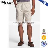 Wholesale Beige Elastic Waist Twill Mens Cargo Shorts