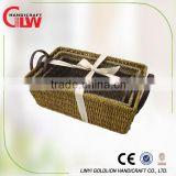 3 pcs set seagrass storage baskets with leather handle, kitchen vegetable storage baskets,vintage storage baskets