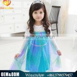 2016 Top Quality New Frozen Princess Dress Girl Fashion Dress Wedding Baby Girls Clothing Party Wear Dress