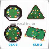 Billiards Clock, triangle ,circular,rectangle,octagon
