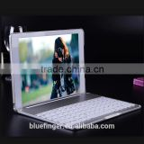 "Best seller Backlit Aluminium alloy Bluetooth keyboard case for 9"" Android tablet with smart cover"