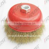 bowl cup brush crimped wire, wire brush brass coated wire