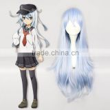 Factory Saleslong light blue curly kantai collection anime cosplay wigs hot Cosmo Fleet Collection Destroyer Hibiki cosplay wig