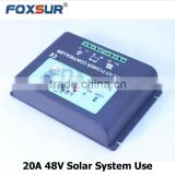 20A PWM Solar Panel Charge Controller 48V with LED indicate the batttery Capacity Off Grid PV Controller Solar Aluminum housing