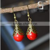 Retro Jewelry Vintage Brass Red Stone Beads Drop Earrings Designs for Women Ladies girls