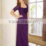 Elegant Mother Of The Bride Dress With Jacket Purple Chiffon Party Dress Short Sleeve Wedding Dress XP-61