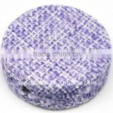 Woven Cloth Woven Beads, Acrylic with Cloth, Lilac, Flat Round, 33x11mm, hole: 3mm.(WOVE-R003-7)