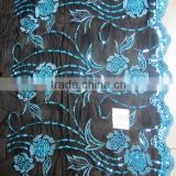 Computer embroidery ankara fabric diamond blue flower + sequins chemical embroidery lace border