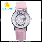WJ-5481 special alarm clock face unique popular quartz stainless steel back leather watch