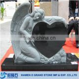 2014 black angel heart shaped granite tombstone                                                                         Quality Choice