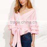 Blouses latest fashion design women clothing Pink Pleated Bell Sleeve Bow Tie Waist Blouse