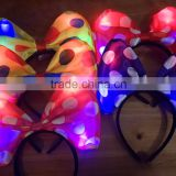 2016Factory Prices led girls princess headband LED bow hairpin