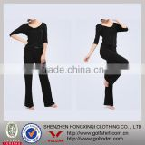 Natural Bamboo Mateiral Black V neck Fitness Yoga Wear Sportswear