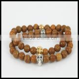 Mens Natural Tree Round Stone Beads Bracelet Silver/Gold Plated Skull Head Bangles