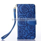 Debossed flower genuine leather mobile phone case