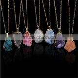 costume Jewelry 2016 hot selling natural crystal irregular stone quartz pendant necklaces stone gem jewelry