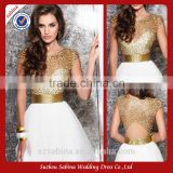 2016 China factory Top quality short evening dress with hand made beading