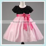 Latest Design Pink Black Lovely Butterfly Sparkly Baby Girl Princess Dress Sequin Tutu Dress Girl Frock Dress Wedding Dress