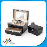 luxury small mirror wooden jewelry box with drawer