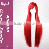 Hot Sale 100cm Long Straight white/pink/red ladies synthetic hair wig,heat fibre anime cosplay wig peruca