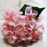 Wholesale cheap single head long stem pink artificial hydrangea flower for decoration