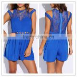 2014 new women sexy ladies BLUE LACE INSET CUT OUT CORSET CLUBBING ROMPER JUMPSUIT OEM cheap