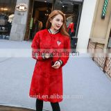 2016Winter New Women Fur Coat Rabbit Fur Thick Medium long Jacket Baseball Uniform Design Fashion Winter Warm Outwear Coat