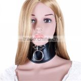 Neck Collar With Pull Ring Adjustable Lockable Belt Slave Fetish Bondage Strap Sex Leather Body Harness