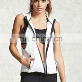 White 100% Cotton Lightweight Unisex Sleeveless Muscle Hoodie Racerback Gym Stringer Hoodie Blank Fitness Hoodie Wholesale