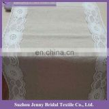 TR004B1 fancy white embroidered lace edge burlap table runner
