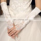 Ivory&white Pretty Appliqued& Sequined Fingerless Long Wedding Glove White pearl beaded satin fingerless wedding bridal gloves