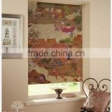 Thai painting style wallpaper roller blind fabric and upholstery textile