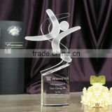 Beautiful crystal glass trophy award on sale