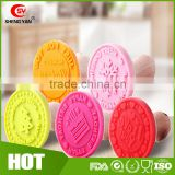 3 Sets Interchangeable Stamper Silicone Stamps Molds with Wooden Handle for Cookies and Fondant