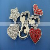 Compet Produce 10 mm Rhinestone Heart Slide Charms with Zinc Alloy Material