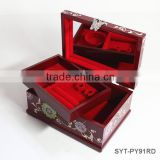 Luxury lock mirror wooden fancy jewelry box