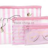 2016 China suppliers pink sweet cosmetic bag set,clear plastic makeup bag,Organizer Travel Toiletry Bag