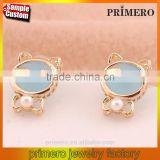 Cute pearl Gold Plated Bowknot Opal Cat Dog Stud Earring happy back