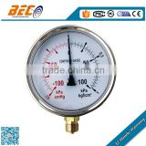 (YTN-100A) 100mm CE standard vacuum compound low pressure oil liquid filled type manometer