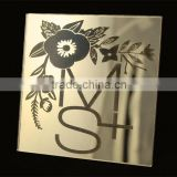 Hot sale beautiful golden mirrored acrylic wedding invitations with black silk screen printing & flower pattern