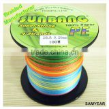Zhejiang Wholesale Outdoor Fishing Tackle Japan 100% PE Fishing Braid Line 4 Strands 20lb SUNBANG Colored Multicolors