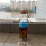 2015 bamboo lid pyrex glass water bottle with tea infuser